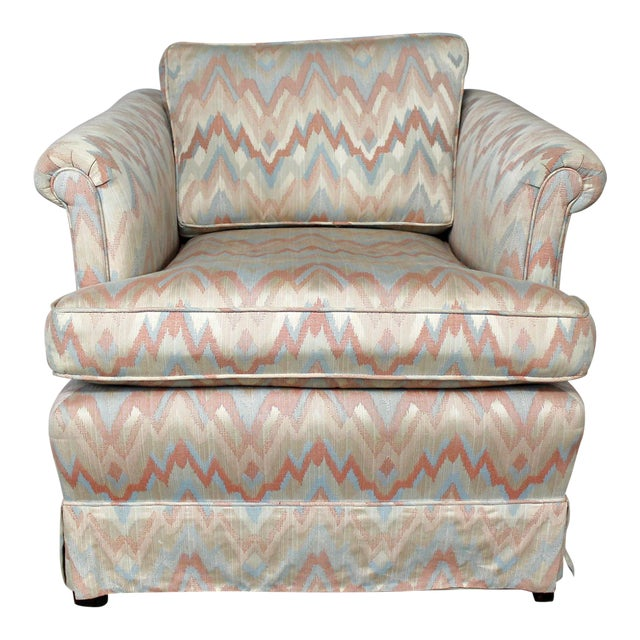 Tuxedo Style Skirted Lounge Chair with Rolled Arms and Flame Stitch Upholstery For Sale