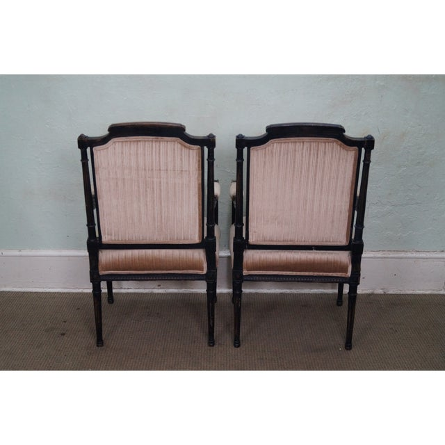 Custom Quality Pair of French Louis XVI Style Arm Chairs For Sale - Image 4 of 10