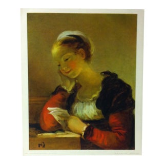 """French Color Print on Paper, """"Le Lettre"""" by Jean Honore' Fragonard - 1965 For Sale"""
