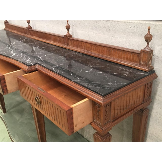 20th Century Louis XVI Style Neoclassical Console Table With Three Drawers For Sale In Miami - Image 6 of 13