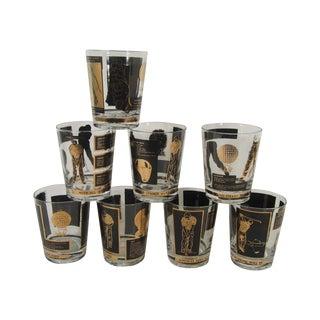 Gold & Black Golf Lowball Glasses - Set of 8 For Sale
