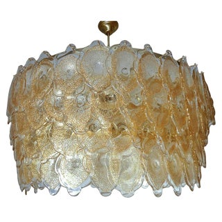 Italian Murano Gold Clouds Drum Chandelier by Mazzega For Sale