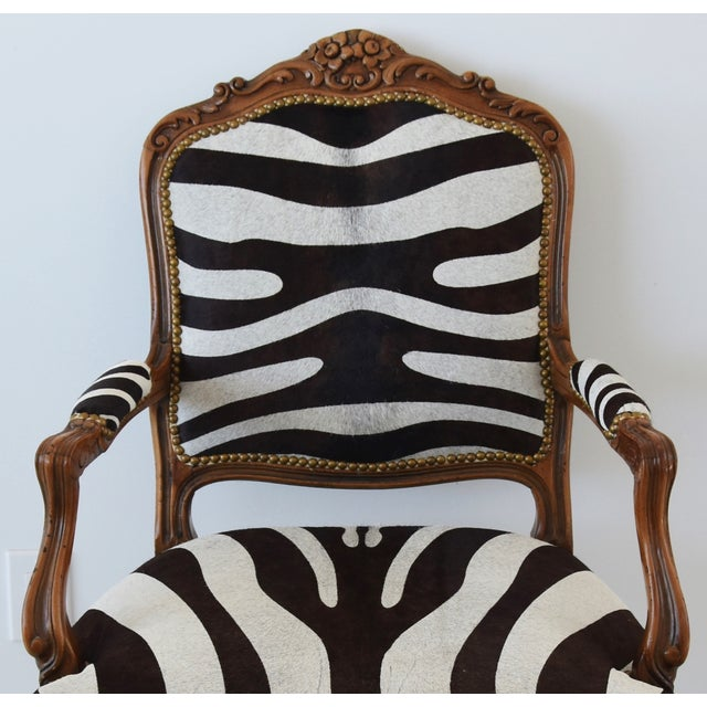 1950s Carved Hardwood & Tiger Cowhide Upholstered Armchair For Sale - Image 4 of 13