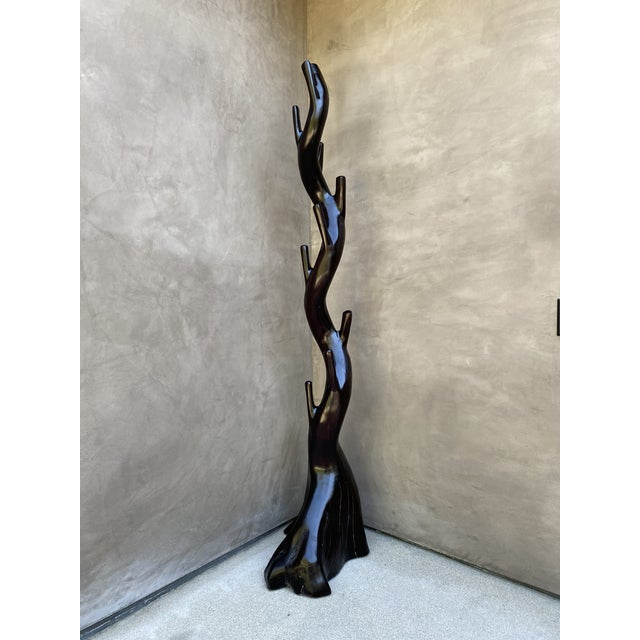 Wood Hand Carved Solid Wood Coat Stand For Sale - Image 7 of 12