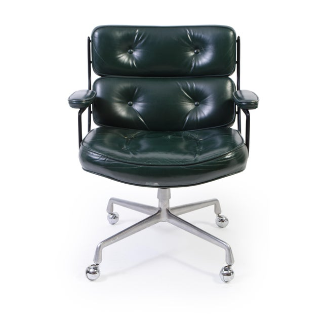 Mid-Century Modern Eames Green Leather Time Life Chair for Herman Miller For Sale - Image 3 of 9
