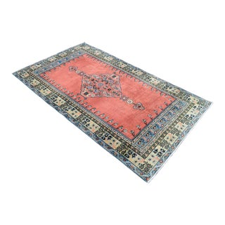 Vintage Turkish Hand Knotted Area Rug - 3′10″ × 6′10″ For Sale