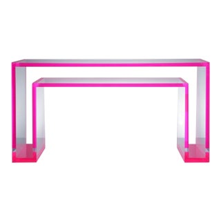 Alexandra Von Furstenberg | Modern Pink Acrylic Console For Sale