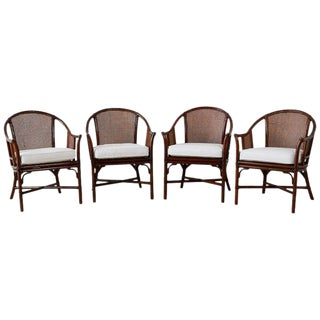 Set of Four McGuire Rattan Cane Horseshoe Lounge Chairs For Sale