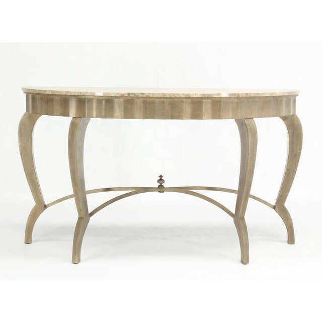 Ovesize Art Deco Silver Leaf with Marble-Top Demilune Console Table For Sale - Image 9 of 10