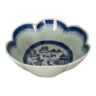 Blue & White Scalloped Bowl, China Circa 1870 For Sale