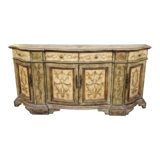Large Hooker Furniture Seven Seas Distressed Painted Dining Room Buffet Credenza For Sale
