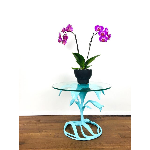 Postmodern Vintage Arthur Court Style Lily Side Table For Sale - Image 3 of 9
