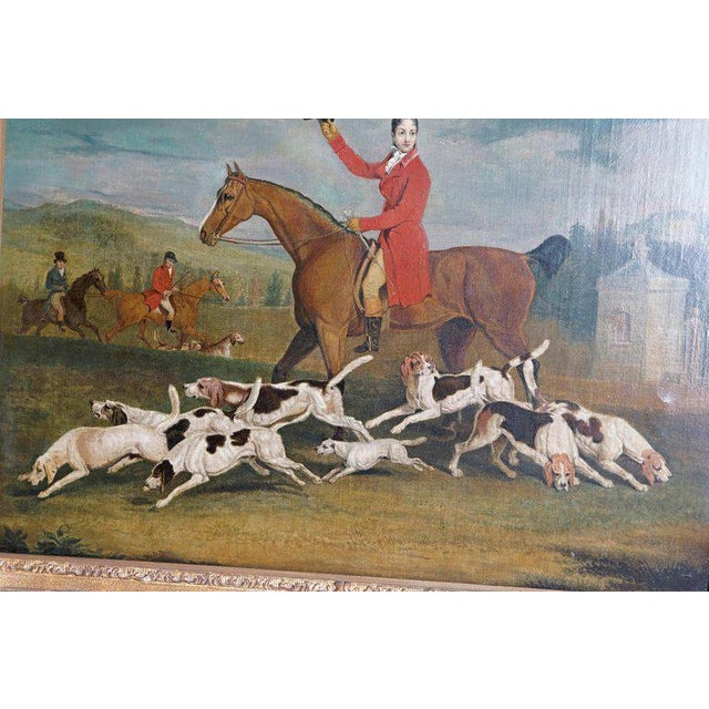 19th Century Oil on Canvas English Hunting Scene of Rider on Horse With Hounds For Sale - Image 4 of 13
