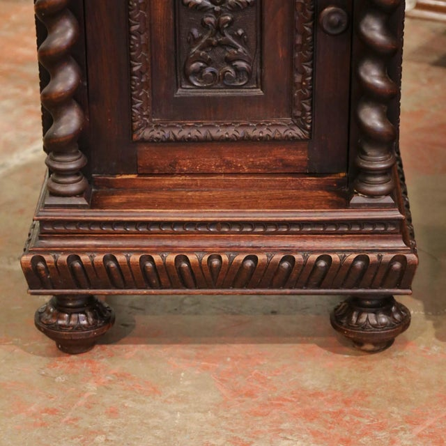 Late 19th Century Pair of 19th Century French Carved Oak Nightstands With Marble Top For Sale - Image 5 of 13