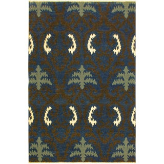 Cianna Modern Ramonita Blue/Ivory Wool & Viscouse Rug - 4'1 X 6'3