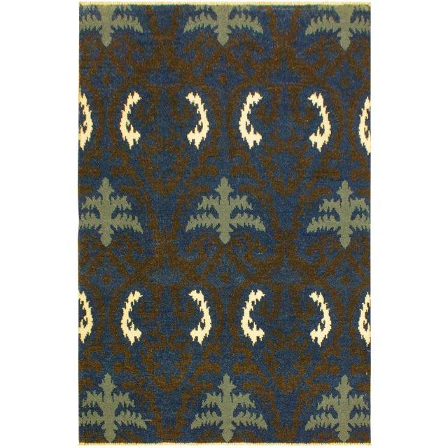 Cianna Modern Ramonita Blue/Ivory Wool & Viscouse Rug - 4'1 X 6'3 For Sale
