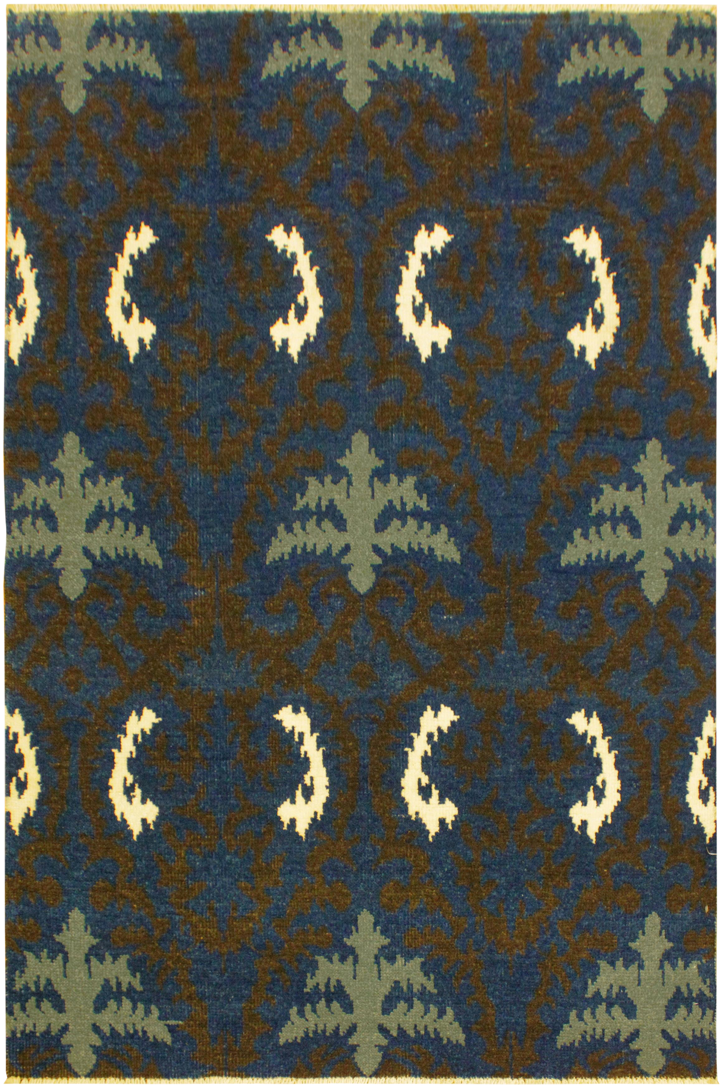 Cianna Modern Ramonita Blue/Ivory Wool U0026 Viscouse Rug ...