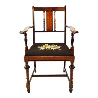 Antique Burl Wood Armchair With Needlepoint Upholstered Seat