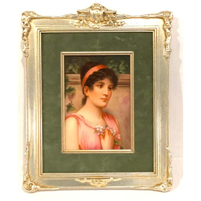 Fine German Painting on Porcelain of a Garden Muse For Sale - Image 9 of 13