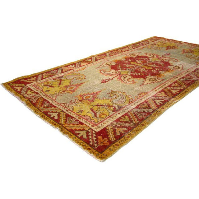 20th Century Turkish Style Distressed Oushak Rug For Sale - Image 4 of 6