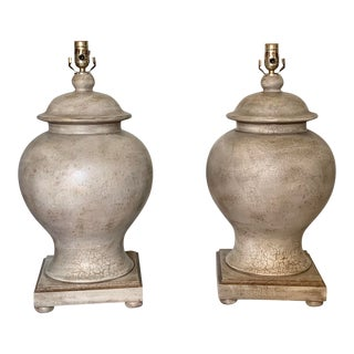 Ceramic Crackle Faux Finish Tan Ginger Jar Lamps - a Pair For Sale