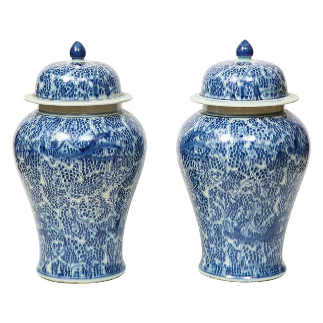 Chinese Blue and White Jars with Lids - A Pair For Sale - Image 13 of 13