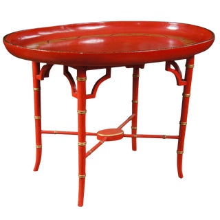 English Scarlet & Gilt Wooden Tray on Later Faux Bamboo Stand For Sale