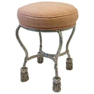 Silvered Rope Tassel Vanity Stool by Phyllis Morris For Sale