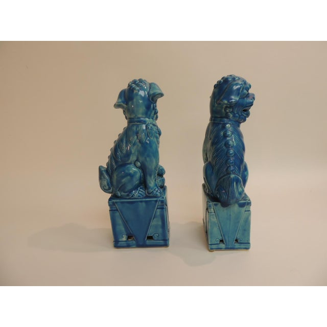 Vintage Ceramic Turquoise Foo Dog on Stand - a Pair - Image 4 of 5