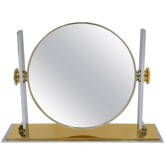 Brass and Nickel Vanity Mirror by Karl Springer For Sale - Image 10 of 10