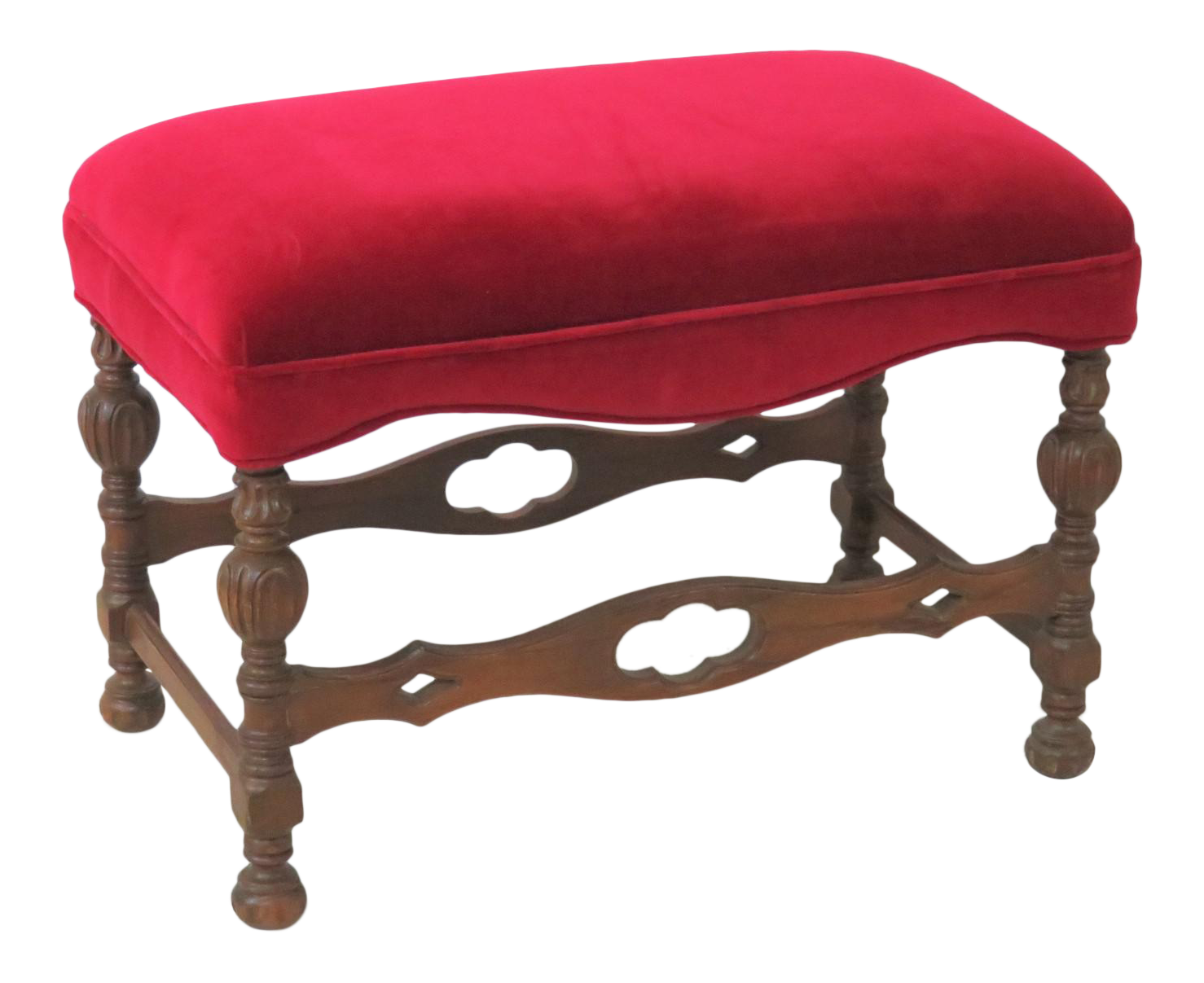 1930s Jacobean Oak Red Upholstered Vanity Bench Vanity Bench For Sale I74