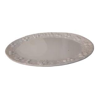 Massive White Italian Ceramic Platter With Embossed Edges For Sale
