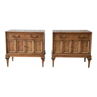 Bernhard Rohne for Mastercraft Brass and Burled Amboyna Nightstands - a Pair