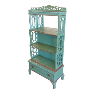 Antique Green Fretwork Cabinet For Sale