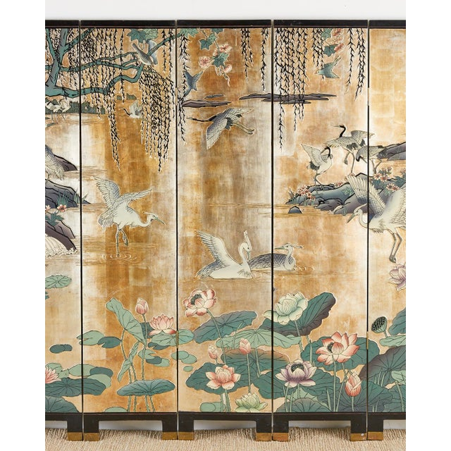 Chinese Chinese Export Gilt Coromandel Screen Crane Landscape For Sale - Image 3 of 13