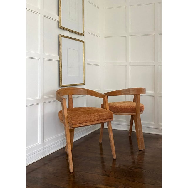 Mid 20th Century Mid Century Modern Cerused Oak Sculptural French Chairs - a Pair For Sale - Image 5 of 11