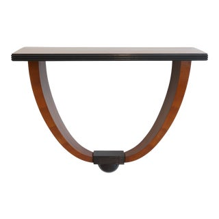 Vintage Art Deco 1930s Console Table Wall Mounted in Mahogany Black Lacquer and Satinwood Veneer For Sale