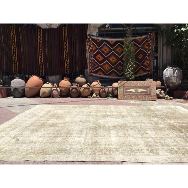 Mid-Century Modern Oversized Antique Distressed Hand Knotted Oushak Rug For Sale - Image 3 of 11
