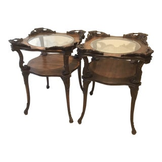 Antique Victorian Carved Wood End Tables With Glass - Set of 2 For Sale