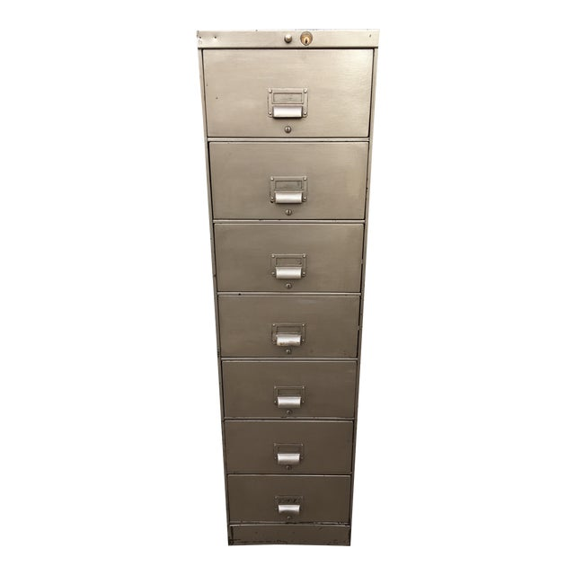1930s Art Metal Industrial 7-Drawer Vertical File For Sale