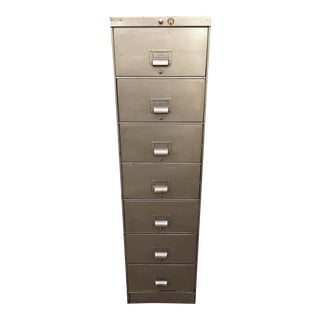 Industrial 7 Drawer Locking File by Art Metal For Sale