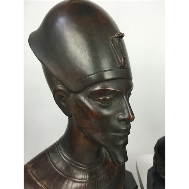 Haruil Bronzed Egyptian Pharaoh Table Lamps - Pair For Sale In Buffalo - Image 6 of 9