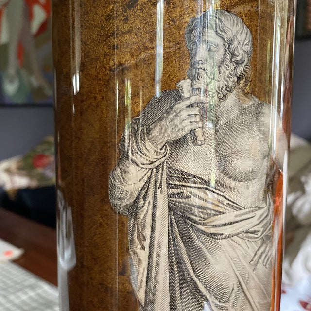1950s 1950's Fornasetti Attributed Neoclassical Eglomise Lamp For Sale - Image 5 of 9