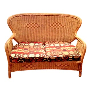 20th Century Country Wicker Settee With Groovy Fabric For Sale