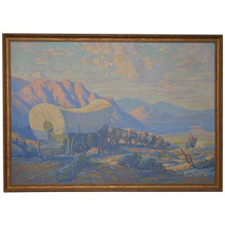 "Gilbert Tonge ""Wagon Train"" Original Serigraph c.1930s"