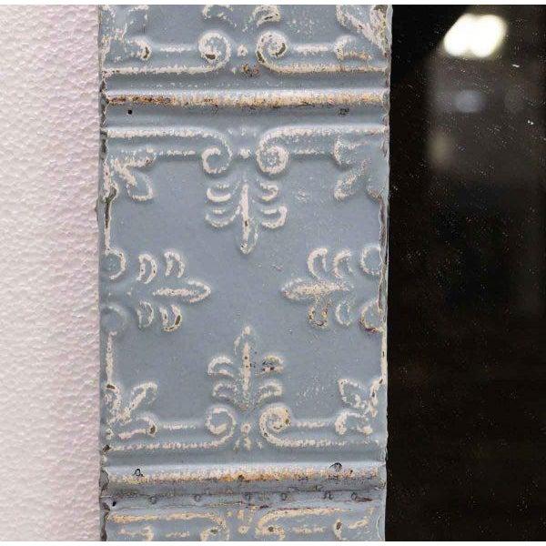 Baby Blue Fleur De Lis Tin Panel Mirror - Image 3 of 3