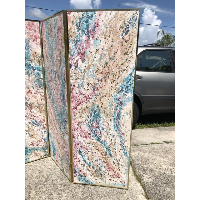 Abstract 1980s Post Modern Abstract Expressionist Paint Splatter 3 Panel Canvas Painting Room Divider Screen For Sale - Image 3 of 9