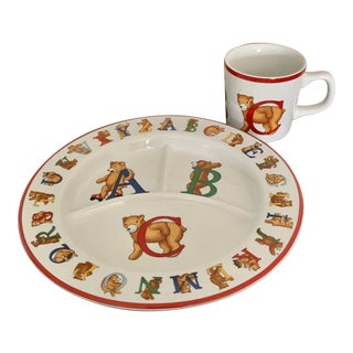 1994 Vintage Tiffany & Co Abc Baby China Set - 2 Pieces For Sale