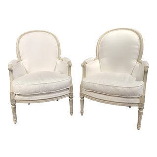 Pair of 19th Century French Louis XVI Carved Painted Bergère Armchairs
