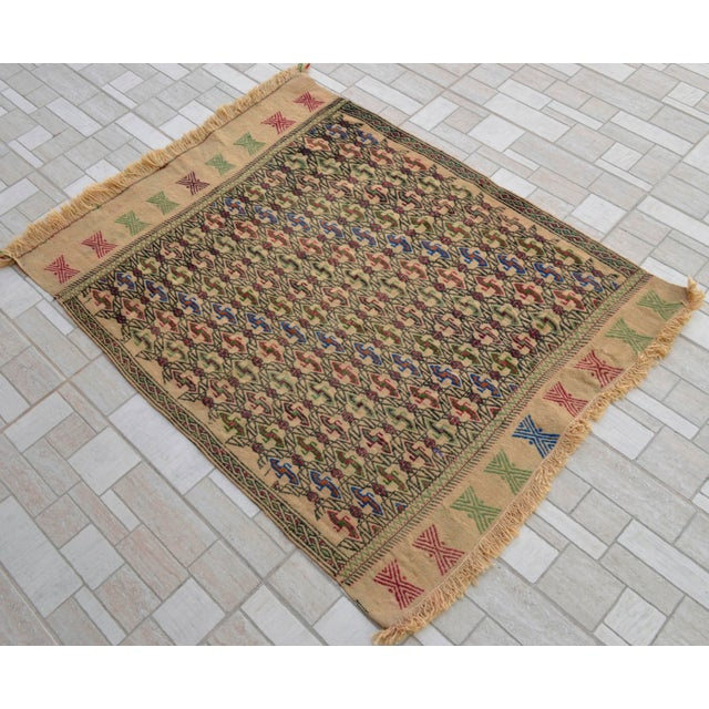 "Boho Chic Vintage Braided Kilim Rug Turkish Hand Woven WoolRug Sofreh - 3' X 3'10"" For Sale - Image 3 of 9"